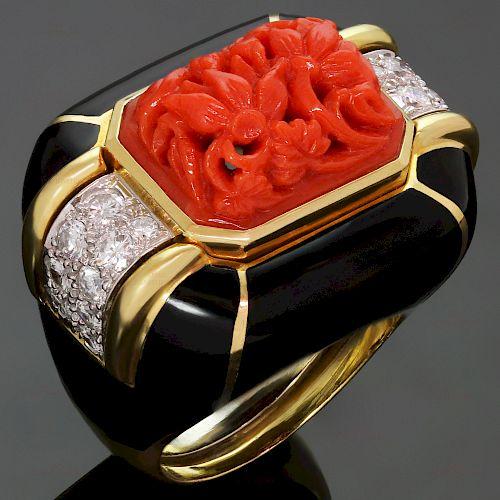 DAVID WEBB Diamond Coral Enamel 18k Yellow Gold Platinum Ring