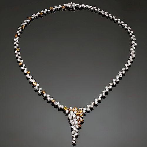 Orange & White Diamond 18k White Gold Cascade Necklace New
