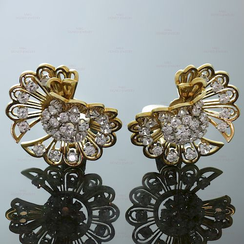 VAN CLEEF & ARPELS Diamond 18k Gold Clip-on Earrings Brooches
