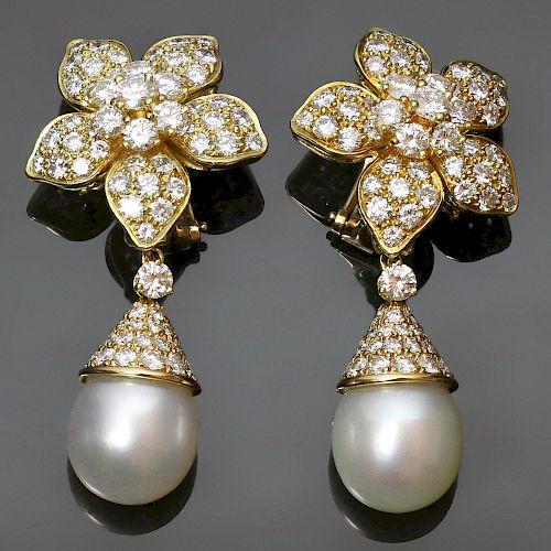 VAN CLEEF & ARPELS Diamond Pearl 18k Yellow Gold Clip-on Flower Earrings