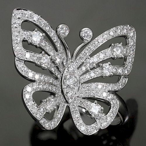 VAN CLEEF & ARPELS Flying Butterfly Between the Finger Diamond 18k White Gold Ring