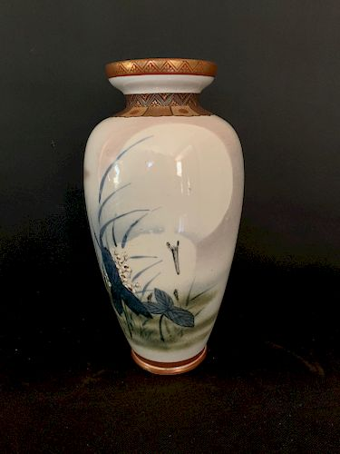 Meiji Studio Vase with Heron and the Moon