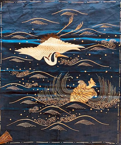 Embroidered Fukusa with Crane and Minogame, Middle Edo Period