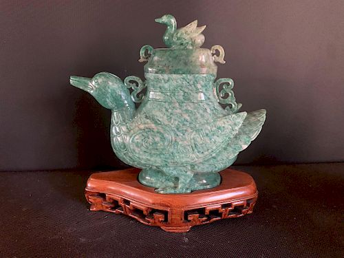 Hardstone Duck Shaped Covered Vase