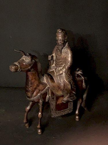 Chinese Bronze Censer, Shoalou on Horse, Qing Dynasty