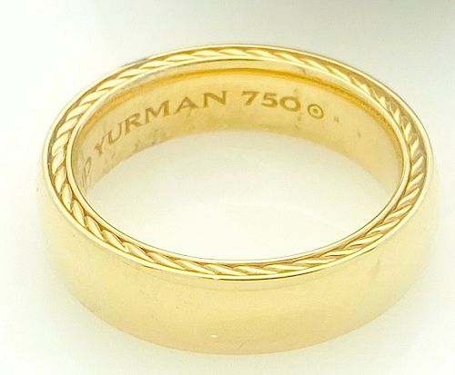 David Yurman 18k Yellow  Gold Streamline 6mm Band / Ring Size 8.5