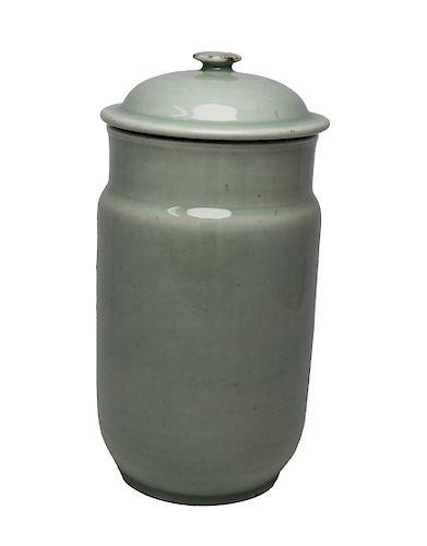 Antique Chinese Longquan Celadon Glazed Lidded Jar