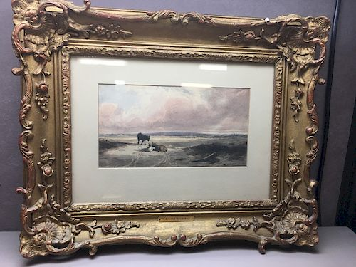Vintage Signed Watercolor Painting by Theodore Rousseau 1939 - COWS