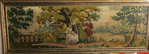 Antique Hand Woven Framed Tapestry of 2 Women and a Man with Guitar