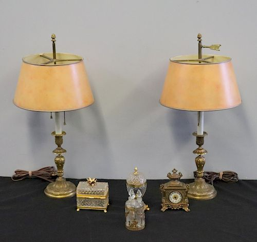 Pr Of antique Bronze Lamps With Tole Shades