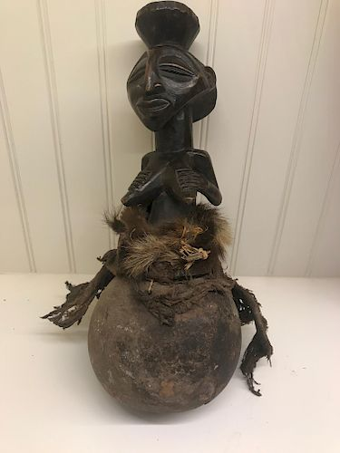 Luba Kabwelulu Figure on Calabash (Gourd)