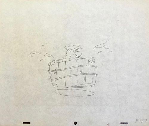 Animation Drawing, Fred Flintstone in Barrel