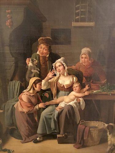 Dutch Genre Painting, Oil on Canvas, 17th Century