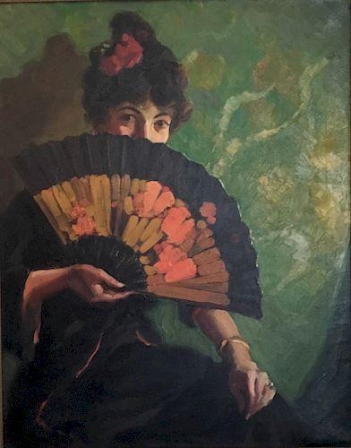 Lady with Fan by Mark Tobey (1890-1976)