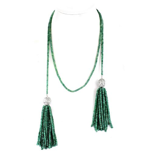 Emerald, Diamond, White Gold Tassel Necklace
