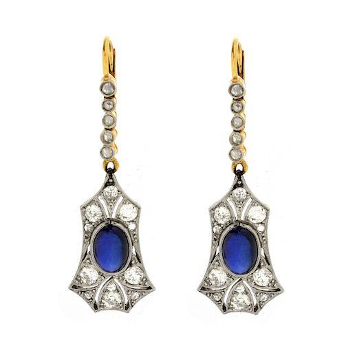 Sapphire, Diamond, Platinum and Gold Earrings