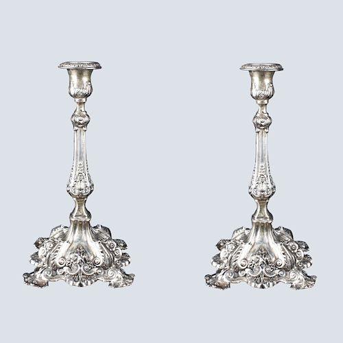 Ornate Sterling Silver Candlesticks
