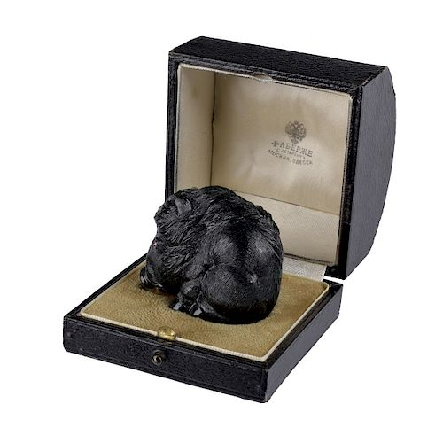 Faberge Carved Jade Warhog