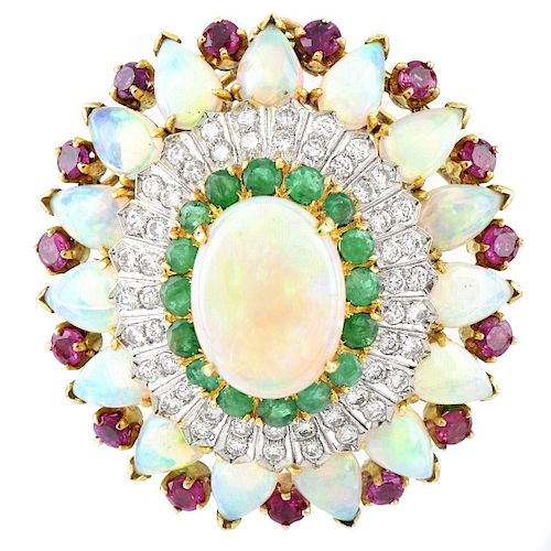 Opal, Diamond, Ruby and Emerald Brooch