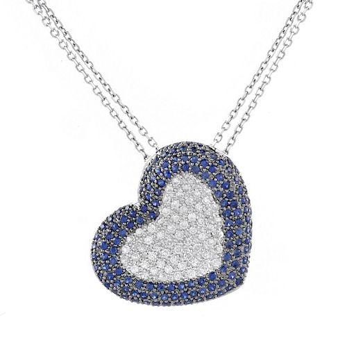 Diamond, Sapphire and 14K Necklace
