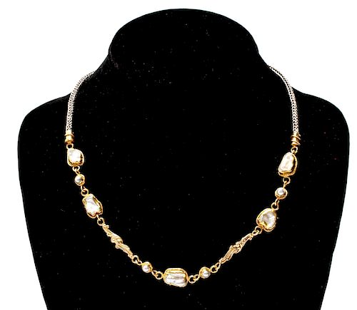 22K & 14K Yellow Gold Pearls Silver Chain Necklace
