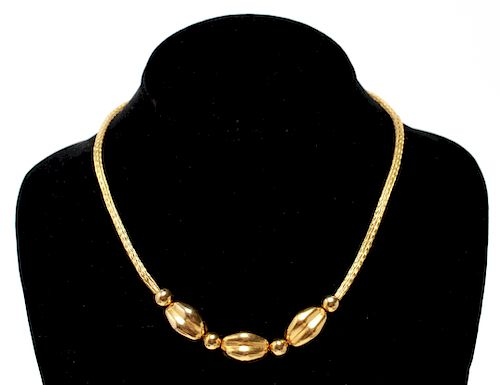 18K Gold Large Beads & Braided Wire Necklace
