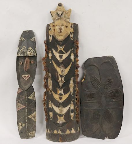 2 Antique African Sculptures And A Shield?