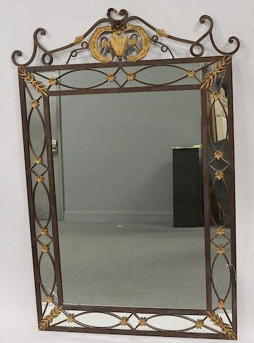 Antique Iron Mirror With Gilt Decoration.