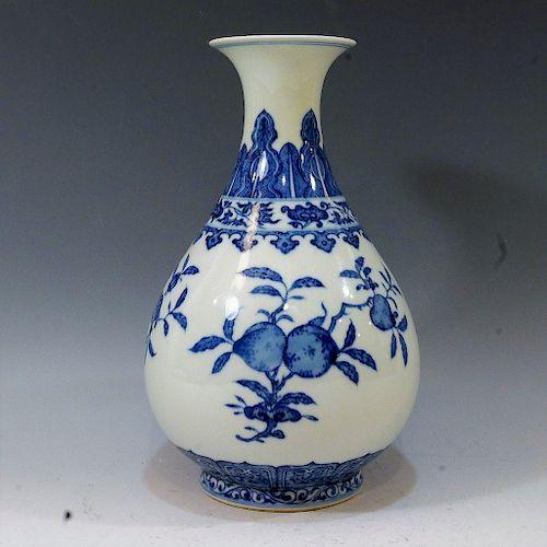IMPERIAL CHINESE BLUE & WHITE YUHUCHUNPING VASE - YONGZHENG MARK & PERIOD
