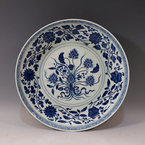 IMPERIAL CHINESE BLUE WHITE LOTUS DISH - YONGZHENG MARK AND PERIOD