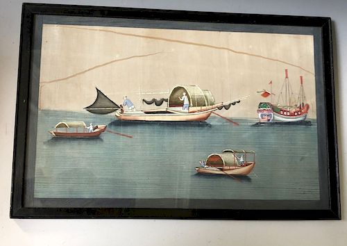 OLD CHINSES PAINTING ON RICE PAPER WITH FRAME