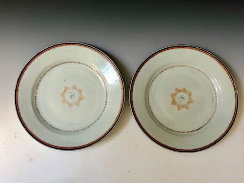 TWO OF CHINESE EXPORT FAMILLE-ROSE PLATES