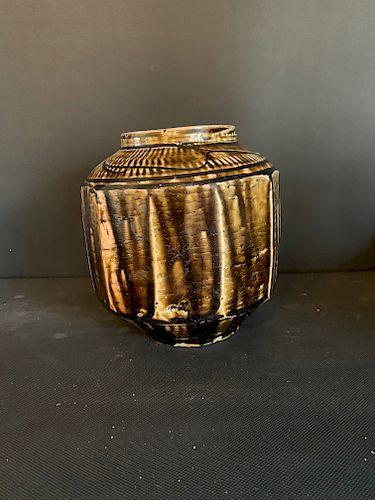 Iron Brown Korean Hendecagon Vase, Joseon Dynasty