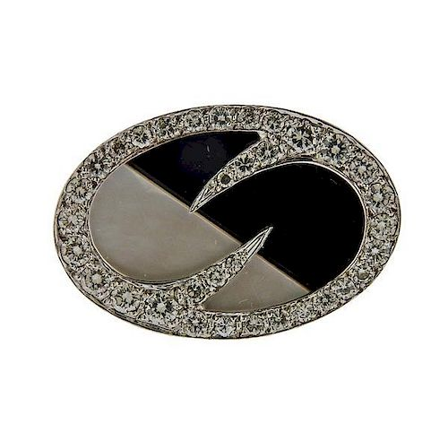 18K Gold Diamond Onyx Mother of Pearl Ring