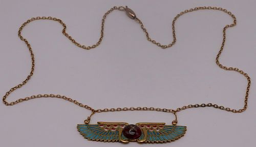 JEWELRY. Egyptian Revival 18kt Gold Pendant.