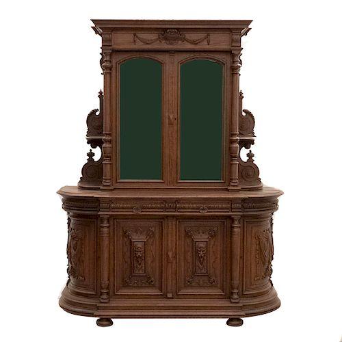 Buffet. Francia. SXX. Estilo Enrique II. En madera de roble. A 2 cuerpos. Con 4 cajones, 6 puertas abatibles y 4 repisas. 231x182x60 cm