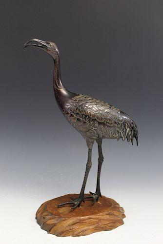 Antique Japanese Metal Crane Incense Holder on Wood Stand.