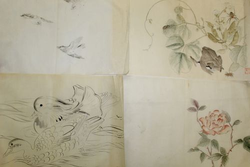 Group of Chinese Ink and Watercolor Paintings on Paper.