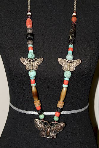 Old Chinese Beaded Necklace. Coral, Turquoise, Jade, Coral, Amber beads with Silver Pendant,