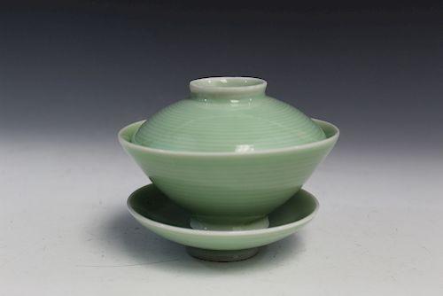 Chinese celadon porcelain teacup set.
