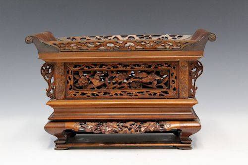 Chinese carved hardwood stand.