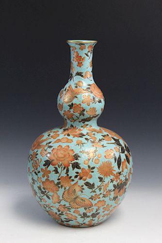 Chinese famille rose porcelain vase. Qianlong Mark.