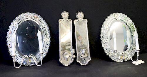 Vintage Pair Of Venetian Mirror Style Sconces