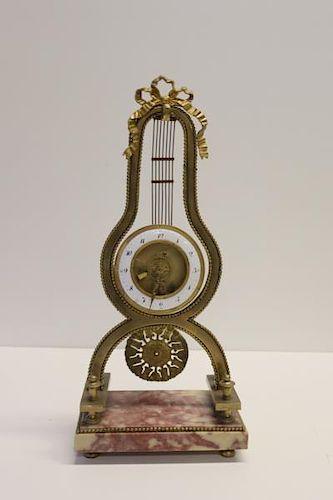Deverberie a Paris Bronze And Marble Lyre Clock