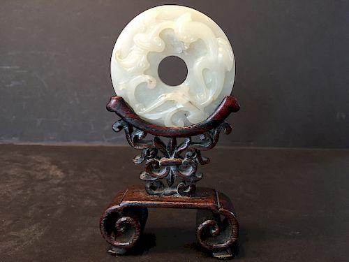 "ANTIQUE Chinese White Jade Round Dragonand RUYI Screen on Frame, Ming. 2 1/2"" diameter"