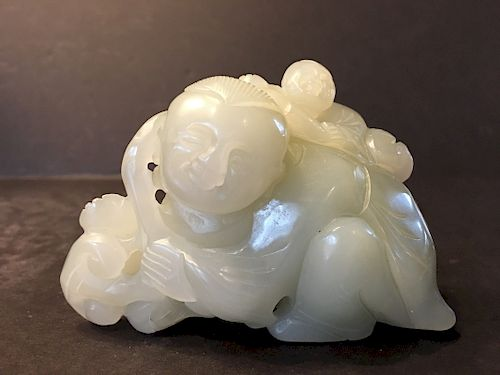 """OLD Large Chinese White Jade Boys Carving, 4"""" long"""