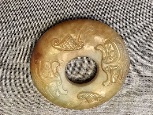 """VERY OLD Chinese Archaic Yellow Jade Bi Ring, Ming or earlier, 3"""" diameter"""