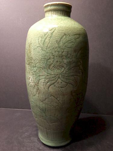 "ANTIQUE large Chinese Celadon Longquan Vase,  Ming. 14 1/2"" high"