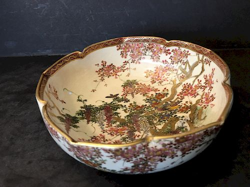 OLD Japanese Satsuma flower Bowl, Meiji period.