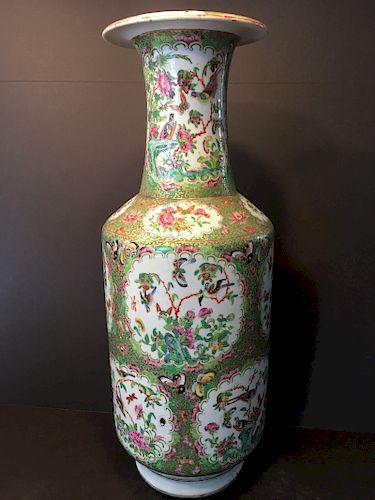 "ANTIQUE Large Chinese Rose Medallion Vase, 24"" H, 19th C"